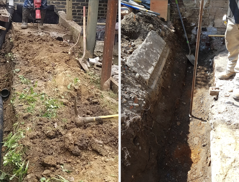 Excavation for new masonry wall footing