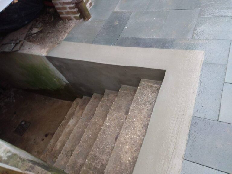 New paving and access stairway