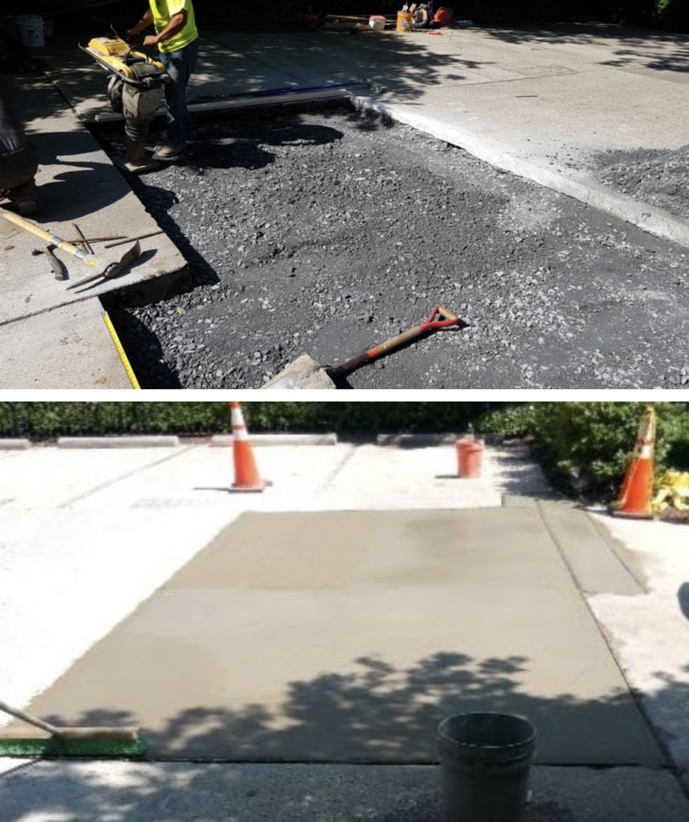 New structural concrete at parking lot