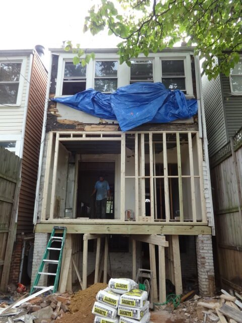 Rowhome rear addition of upper levels