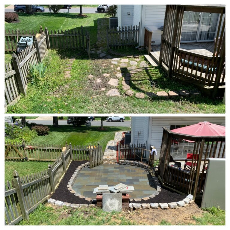 New patio in backyard to create seating and barbecue area
