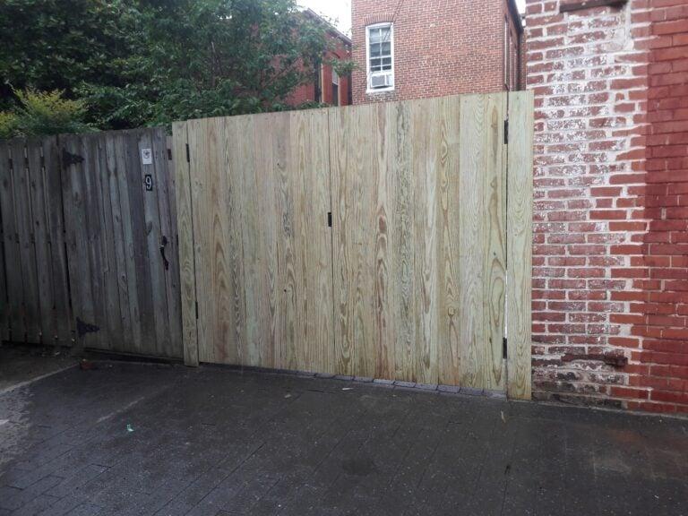 Fence gate at rear yard