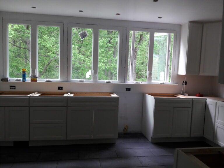 Reframing to add new windows to kitchen