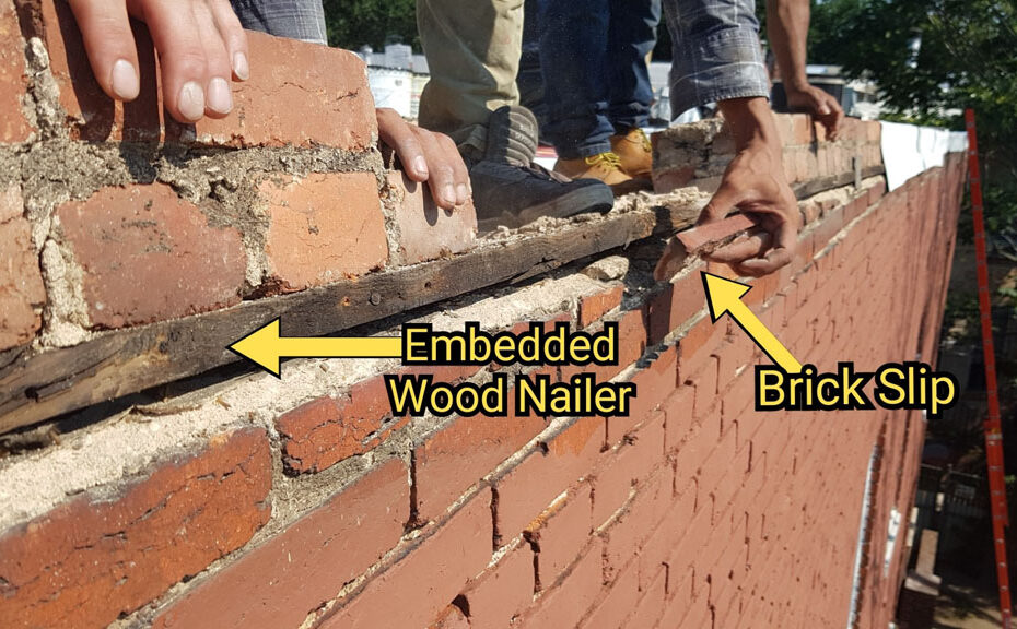 Wood nailer board embedded in brickwork for coping attachment (Large)