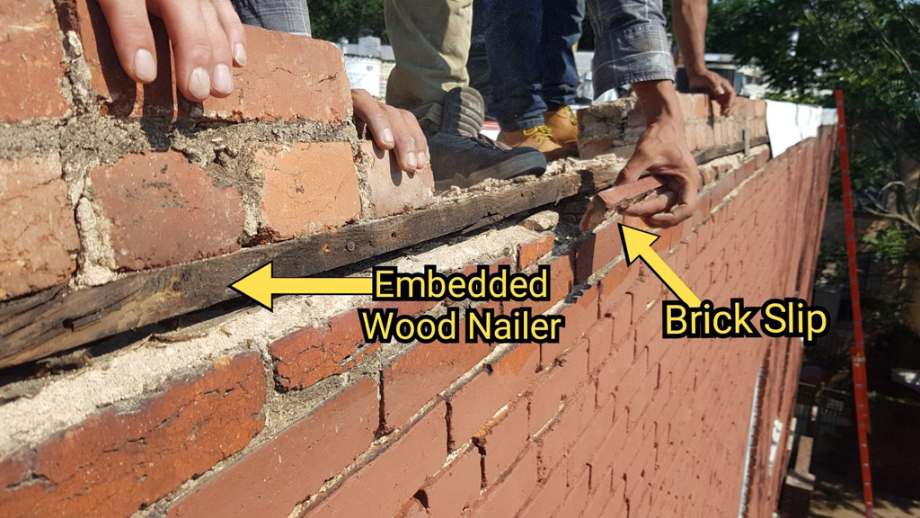 Wood nailer board embedded in brickwork for coping attachment